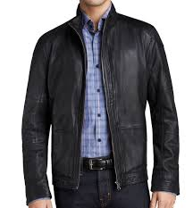 boss hugo boss new black mens size 42r motorcycle leather jacket