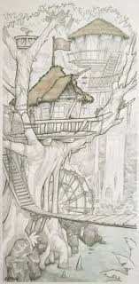 pencil drawing of the swiss family robinson treehouse with ink wash