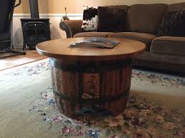 coffee table wooden barrel furniture ahi designs rochester ny stave end accent tables made from whiskey