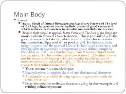 english structuring your essay  5 main body