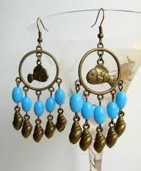 chandelier earrings with fish and s brass tone earrings with azure glass beads summer earrings boho earrings long sea earrings