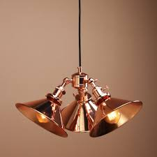 Copper Kitchen Lights Details About Vintage Industrial Three Headed Copper Shade Hanging