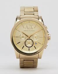 men s watches digital designer watches asos armani exchange ax2099 chronograph gold stainless steel strap watch