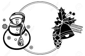 Zwart En Wit Rond Frame Met Grappige Sneeuwpop Hulst Bessen En