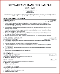 Luxury Assistant Restaurant Manager Cv Excuse Letter
