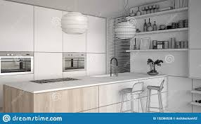 Modern Kitchen Shelves Design Unfinished Project Draft Of Modern Kitchen With Shelves And