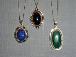 3 vintage sterling silver pendants with semiprecious stones and sterling silver necklaces