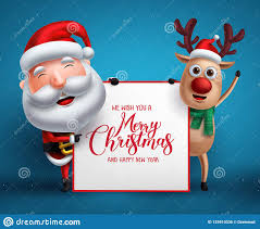Merry Christmas Greeting Template With Santa Claus And Reindeer