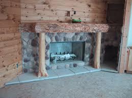 earthblend river rock stone veneer fireplace