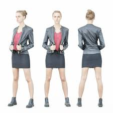 tough look girl in leather jacket and red top low poly 3d model