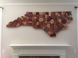 a wooden map of north carolina