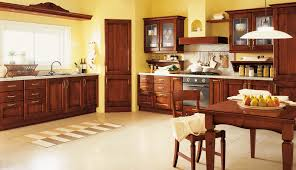 Teak Wood Kitchen Cabinets Brown Ceramic Full Area Floor Rectangle Glass Dining Table Block