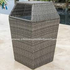 patio garbage can rattan