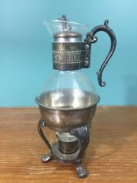 details about vintage glass coffee carafe w pewter accents base w candle warmer stand