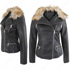 womens long leather coat with fur collar novelties of modern