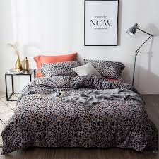 romantic y black orange and silver gray leopard print animal themed jungle safari full queen size bedding sets