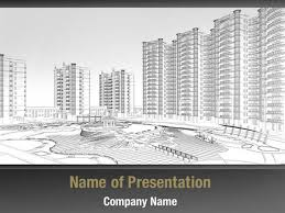 Architectural Powerpoint Template Architectural Wireframe Plan Powerpoint Templates