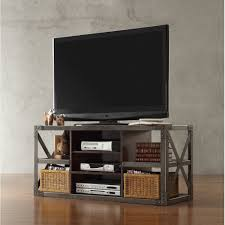 Innovative with an industrial feel, this vintage inspired media console  refreshes traditional style with mixed
