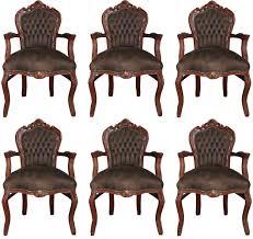 Casa Padrino Barock Esszimmer Set Braun Braun Lederoptik 53 X 57 X H 108 Cm 6 Handgefertigte Esszimmerstühle Mit Armlehnen Barockmöbel