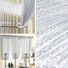 silver glitter string curtain divider door window screen decoration beaded look