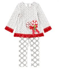 Counting Daisies Little Girls 2t 6x Christmas Candy Cane Applique Tunic Dotted Leggings Set Dillards
