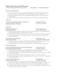 Sample Resume For Marketing Job Resume Intern Sample Resume 100