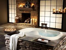 Bathroom : Nice Looking Brick Stone Fireplace For Amazing Asian Style  Bathroom With White Sliding Door And White Candle Holder Ideas Bathroom  Designs with ...