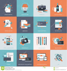 Graphic Design Apps Set Of Flat Design Concept Icons For Website And App