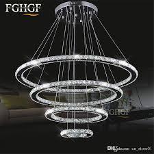 compre 4 anillos anillo de cristal de diamante lámpara led lámpara de cristal moderna lámpara de cristal círculo colgante res luminaria led iluminación