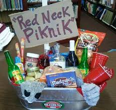 redneck picnic basket silent auction ideas includes camo and blaze orange toilet paper red solo cup wine gles moonshine slim jims pickled eggs
