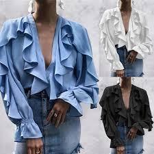 Summer Ruffled Blouse Women Sexy <b>V Neck Long Sleeve</b> Shirts ...