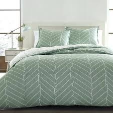 city scene ceres green and white chevron cotton 3 piece duvet cover set green king size