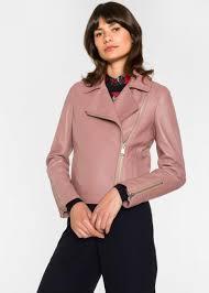 coats jackets pink paul smith leather biker jacket womens pink