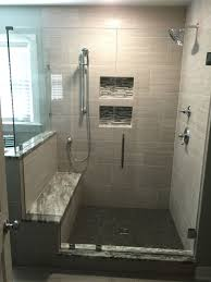 this corner frameless glass shower enclosure features a double notched panel to fit over the bench seat knee wall woodlake subdivision richmond va
