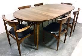 mid century modern dining table with 6 chairs lane perception walnut mcm vine ebay