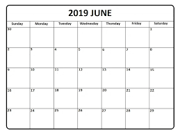 Blank Editable Calendar June 2019 Calendar Template Word Pdf Excel Format