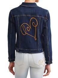 Product Image Love Scribble Denim Jacket Women\u0027s (Dark Wash) Womens Coats \u0026 Jackets - Walmart.com