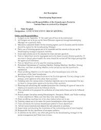 Chic Housekeeping Resume Responsibilities For Your Duties Of A