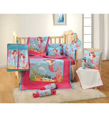 7 pcs mermaid printed pink cotton baby cot bedding set