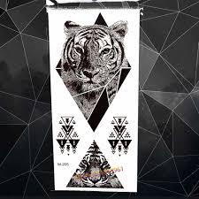 геометрическая алмаз черный племенных тигр временные татуировки для мужчин