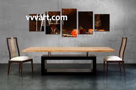 Wine Decor For Kitchen 5 Piece Black Canvas Fruits Wine Wall Art