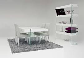 top modern dining table with gl base legs added 4 upholstery dining chairs on grey fur rug as well as contemporary dining cabinets decorating tips