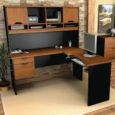 home office desk black. Furniture Corner L Shaped Office Desks Black Accent Color Modern Adjustable Armrests Leather Swivel Chairs Ideas Home Desk