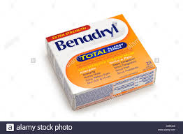 benadryl allergy sinus tablets stock image