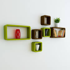 wall furniture shelves. Wall Furniture Shelves Cube Rectangle Green Brown :