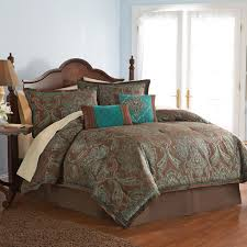 Teal And Brown Bedroom 4 Pc Full Teal Brown Turquoise Blue Jacquard Paisley Comforter Set