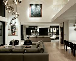lighting for family room. example of a trendy open concept light wood floor family room design in auckland with white lighting for