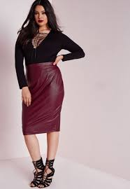 pencil skirts missguided plus size faux leather midi skirt burdy