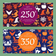 Halloween Gift Cards Vector Halloween Gift Card Or Voucher Templates