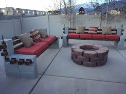 DIY We built outdoor benches and a firepit for a cozy backyard summer area  (#